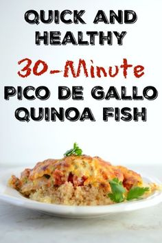 This Pico de Gallo Fish with Quinoa is so easy and has a fresh. This Pico de Gallo Fish with Quinoa is so easy and has a fresh flavour the whole family will love! When youre rushed for time this main dish should be in your recipe box! Fun Easy Recipes, Great Recipes, Easy Meals, Favorite Recipes, Healthy Recipes, Delicious Recipes, Healthy Meals, Healthy Eating, Tasty