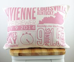 White & pink baby birth announcement nursery pillow with name, birth city/state, date, time, weight, and length