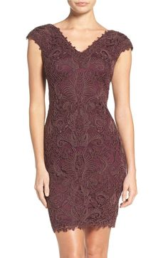 Main Image - Tadashi Shoji Corded Lace Tulle Sheath Dress (Regular & Petite)