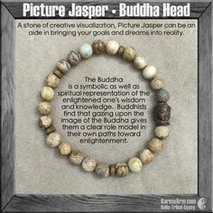 MANTRA: My goals are set and my path is clear. - 8mm Picture Jasper Natural Gemstones - 12mm Hand Carved Driftwood Buddha Head - Driftwood Rondelles - Commercial Strength, Latex-Free Elastic Band - Ha