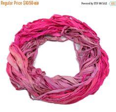 SALE New! Sari Silk Ribbon, 100g , Hot Pink/Baby Pink