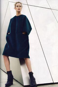 Jil Sander. Fall 2011, dark emerald teal colour, velvety