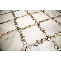 "Cassie Chapman Collection at TilbeBar.com ""Eva"" Marble and Pearl Tile"