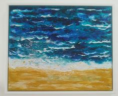 'Sea' acrylic painting framed in a white tray frame by Lynda Colley Originals