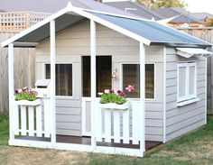 Aarons Cubbies Are Built With Safety First, To Last A Lifetime Of Tea Parties & Adventures! View Our Wide Range Of Cubbies Online All Over Australia. Outside Playhouse, Backyard Playhouse, Build A Playhouse, Backyard Playground, Backyard For Kids, Cubby House Plans, Kids Cubby Houses, Kids Cubbies, Play Houses