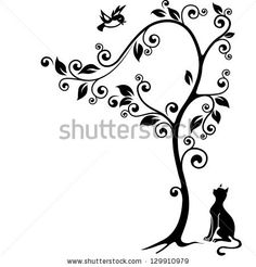 Cat Under A Tree Looking At The Bird. Black-And-White Illustration. - 129910979 : Shutterstock