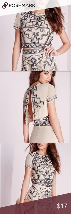Missguided Aztec Embroidered Sequin Top Missguided cream top embellished with silver/charcoal colored sequins and  open back. NWT never worn. Missguided Tops