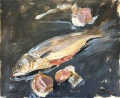 """Daily Paintworks - """"Seabass and Garlic Cloves"""" - Original Fine Art for Sale - © Emma Kate Hulett Sea Bass, Fish Art, Fine Art Gallery, Art For Sale, Garlic, Artist, Painting, Art Gallery, Artists"""