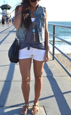 07 white shorts, a white top, a grey top and a denim vest - Styleoholic