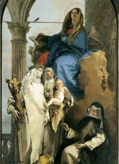 St. Catherine of Siena, St. Rose of Lima and St. Agnes of Montepulciano with the Blessed Virgin. #Dominicans