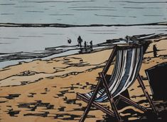 """Deckchair on the Beach"" linocut by Mark Rowden. http://www.wingedlionpress.com.au/ Tags: Beach, Seaside, Sand, Deckchair, People, Linocut, Cut, Print, Linoleum, Lino, Carving, Block, Woodcut, Helen Elstone."