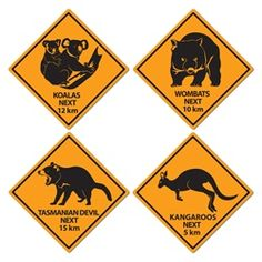 Australian outback cardboard road sign cutouts, printed on both sides. Pack of Pictures include native Australian animals on a yellow background, including a koala, wombat, Tasmanian devil and kangaroo. Each sign measures x