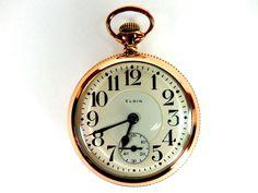 Mega Rare Antique Railroad 21J Elgin Father Time Gold Pocket Watch Mint Serviced #Elgin