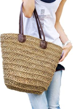 ef0c6e4bc2d2 Ladies Hand-woven Shopping Beach Basket Fully Lined Straw Bag   Satchel Bag  Tote