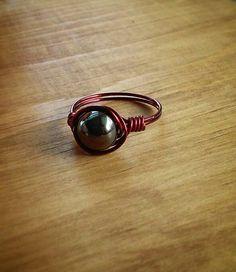 Hematite Burgundy Wire Ring Nontarnish Copper by PazHappyCreations