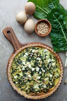 French Chard Tart (Gluten-Free, Grain-Free, Vegetarian, Paleo Option) A savory Swiss chard tart inspired by the classic French tourte de blettes studded with toasted pine nuts and currants.