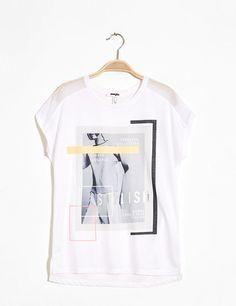 tee-shirt bi-matière imprimé blanc