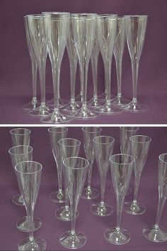 Clear One Piece Plastic Champagne Flute Durable For Outdoor Events Parties And Weddings