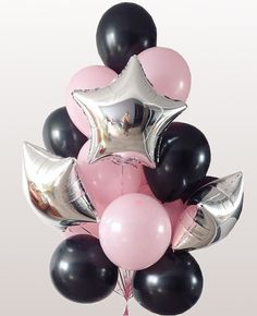 pink & black latex balloon with foil balloon bouquet Red Party Decorations, Birthday Balloon Decorations, Birthday Balloons, Balloon Flowers, Balloon Bouquet, Pink Flowers, Black Balloons, Helium Balloons, Baby 1st Birthday