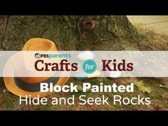 These block-painted hide-n-seek rocks are a cool craft and a fun game rolled into one! #pbscraftsforkids