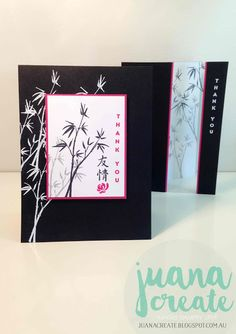 handmade thank you cards by Juan Ambida Independent Stampin' Up!® Demonstrator Australia: Artistically Asian ... bamboo . black and white with pops of hot pink ...