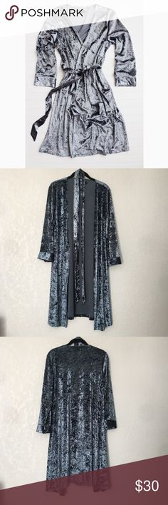 """Happy Rebel Crushed Velvet Robe- XS- NWOT Happy Rebel Crushed Velvet Robe -Size XS -NWOT perfect condition  - blue-tones grey  -received this in my """"happy rebel"""" subscription box but it's too small  - Approximate chest/waist measurement across back of robe: XS - 18.5""""  - This robe is so cute, but the arm length is too short (I always have that problem) Happy Rebel Sweaters Cardigans"""