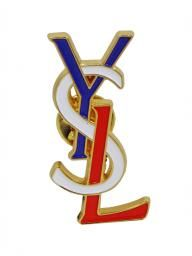 Yves Saint Laurent 1980's red white and blue brooch