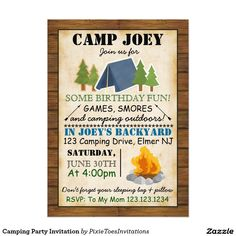 Camping Party Invitation {affiliate}