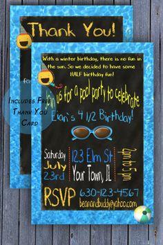Summer half birthday invitation half 12 birthday party boys half birthday pool party invitation boys summer birthday invitation free thank you card filmwisefo