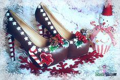 Gingerbread man cake christmas festive custom made heels shoes