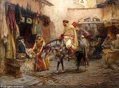 """ Frederick Arthur Bridgman (American, A Street in Algeria "" Horse Art, Arabic Art, Art Painting, Historical Painting, Oriental Art, Islamic Art, Bridgman, Historical Illustration, Painting"