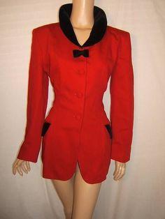 MOSCHINO Womens 10 SEXY RED Black VELVET BOW TIE 80's Vintage Blazer Jacket #Moschino #Blazer