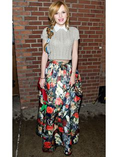 Maxi: Oversized Patterns-A maxi skirt is a statement in its own right, but this season's version takes it one step up with oversized prints! The key to pulling off such a loud piece is pairing it with a simple, form-fitting top, like Bella Thorne's cropped sweater.