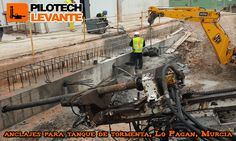 Obra con anclajes para tanque de tormenta en Lo Pagan, Murcia. Año 2016
