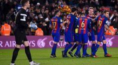 Riau Book - Hercules tak berdaya saat melawan Barcelona dalam laga leg kedua 32 besar Copa del Rey di Camp…