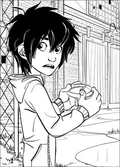 Hiro Hamada And The Microbot In Petri Dish Coloring Page