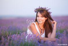 """Téléchargez la photo libre de droits """"Beautiful young woman portrait in lavender field"""" créée par vladikts au meilleur prix sur Fotolia.com. Parcourez notre banque d'images en ligne et trouvez l'image parfaite pour vos projets marketing !"""