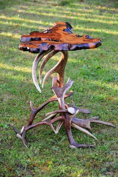 Irish bog yew wood and deer antler table. on Etsy 0ffb1a40014e
