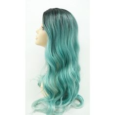 Long 25 Inch Turquoise Blue W Dark Roots Long Wavy Wig With Heat... ($60) ❤ liked on Polyvore featuring beauty products, haircare, hair styling tools, wigs, bath & beauty, grey and hair care