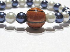 Basketball Stretch Bracelet.  White and navy blue by NammersCrafts