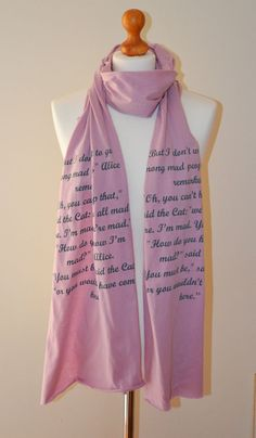 Alice in Wonderland book scarf in dusky pink and grey by Erinnies