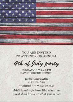 Rustic american flag #July_4th_invitations.