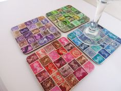 Drinks Coasters Postage Stamp Decoupage by JanxandCo on Etsy