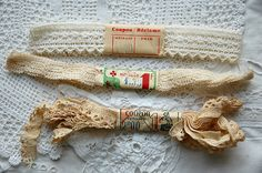 Vintage French lace, wrapped unused old new stock, original labels, lace with labels, 3 lace bundles, French lace, collectors lace bundles 2