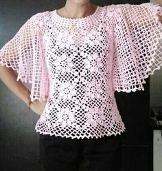 Woman summer cropped short pullover top, cover up Pattern Instruction only, PDF Files Crochet Motifs, Crochet Squares, Filet Crochet, Crochet Lace, Crochet T Shirts, Crochet Blouse, Crochet Clothes, Knitting Patterns, Crochet Patterns