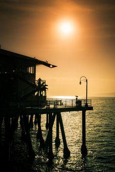 The Sun Sets on Santa Monica Pier. LA