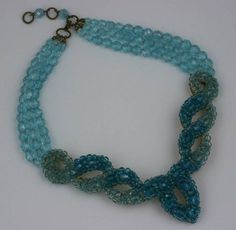Coppola e Toppo for Schiaparelli Aquamarine Crystal Necklace | From a unique collection of vintage beaded necklaces at https://www.1stdibs.com/jewelry/necklaces/beaded-necklaces/