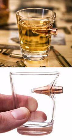 Lucky Shot .308 Real Bullet Handblown Shot Glass - Gift For Men @thistookmymoney