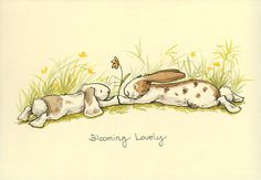 Blooming Lovely - A Two Bad Mice Card by Anita Jeram Art And Illustration, Cute Drawings, Animal Drawings, Easter Drawings, Anita Jeram, Rabbit Art, Bunny Art, Animals Images, Whimsical Art