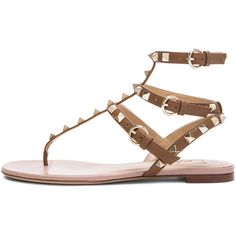 Valentino Rockstud Gladiator Leather Sandals T.05 ($945) ❤ liked on Polyvore featuring shoes, sandals, flats, valentino, flat sandals, leather flats, flat pumps, gladiator flats, metallic sandals and metallic gladiator sandals